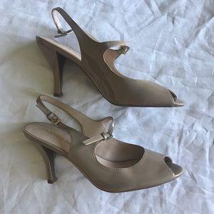 Franco Sarto nude peep toe pumps with strap 7.5